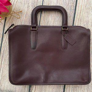 Vtg COACH dark brown leather satchel briefcase
